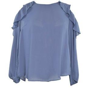 BCX Womens Ruffled Pullover Blouse XL New